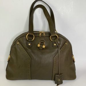 YSL Olive Green Leather Medium Muse Bag